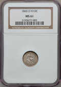 Seated Half Dimes: , 1860-O H10C MS61 NGC. NGC Census: (8/161). PCGS Population (5/149).Mintage: 1,060,000. Numismedia Wsl. Price for problem f...