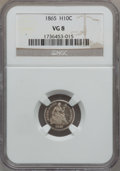 Seated Half Dimes: , 1865 H10C VG8 NGC. NGC Census: (1/50). PCGS Population (1/69).Mintage: 13,000. Numismedia Wsl. Price for problem free NGC/...