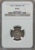 Seated Dimes: , 1853-O 10C Arrows XF45 NGC. NGC Census: (1/22). PCGS Population(5/28). Mintage: 1,100,000. Numismedia Wsl. Price for probl...