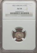 Seated Half Dimes: , 1853 H10C Arrows AU58 NGC. NGC Census: (174/716). PCGS Population(123/558). Mintage: 13,210,020. Numismedia Wsl. Price for...