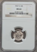 Mercury Dimes: , 1927-S 10C MS64 NGC. NGC Census: (43/37). PCGS Population (63/28).Mintage: 4,770,000. Numismedia Wsl. Price for problem fr...