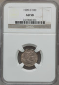 Barber Dimes: , 1909-D 10C AU58 NGC. NGC Census: (3/67). PCGS Population (9/67).Mintage: 954,000. Numismedia Wsl. Price for problem free N...