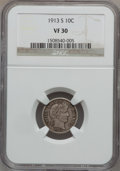 Barber Dimes: , 1913-S 10C VF30 NGC. NGC Census: (7/106). PCGS Population (18/174).Mintage: 510,000. Numismedia Wsl. Price for problem fre...