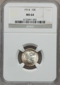 Barber Dimes: , 1914 10C MS64 NGC. NGC Census: (265/182). PCGS Population(291/194). Mintage: 17,360,656. Numismedia Wsl. Price forproblem...