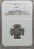 Barber Dimes: , 1906-O 10C MS62 NGC. NGC Census: (15/93). PCGS Population (7/129).Mintage: 2,610,000. Numismedia Wsl. Price for problem fr...