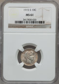 Barber Dimes: , 1915-S 10C MS61 NGC. NGC Census: (5/93). PCGS Population (1/117).Mintage: 960,000. Numismedia Wsl. Price for problem free ...