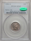 Barber Dimes: , 1901-S 10C XF45 PCGS. CAC. PCGS Population (10/66). NGC Census:(10/51). Mintage: 593,022. Numismedia Wsl. Price for proble...
