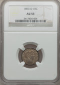 Barber Dimes: , 1893-O 10C AU55 NGC. NGC Census: (5/113). PCGS Population (8/110).Mintage: 1,760,000. Numismedia Wsl. Price for problem fr...