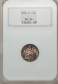 Seated Dimes: , 1890-S 10C MS64 NGC. NGC Census: (23/22). PCGS Population (18/9).Mintage: 1,423,076. Numismedia Wsl. Price for problem fre...