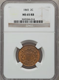 Two Cent Pieces: , 1865 2C MS65 Red and Brown NGC. NGC Census: (667/137). PCGSPopulation (258/22). Mintage: 13,640,000. Numismedia Wsl. Price...