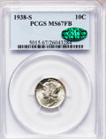 Mercury Dimes: , 1938-S 10C MS67 Full Bands PCGS. CAC. PCGS Population (113/6). NGCCensus: (63/7). Mintage: 8,090,000. Numismedia Wsl. Pric...