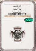 Mercury Dimes: , 1938-S 10C MS67 Full Bands NGC. CAC. NGC Census: (63/7). PCGS Population (113/6). Mintage: 8,090,000. Numismedia Wsl. Price...