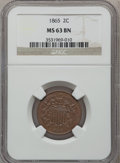 Two Cent Pieces: , 1865 2C MS63 Brown NGC. NGC Census: (348/1018). PCGS Population(227/230). Mintage: 13,640,000. Numismedia Wsl. Price for p...