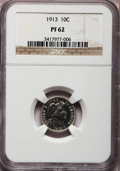 Proof Barber Dimes: , 1913 10C PR62 NGC. NGC Census: (21/141). PCGS Population (29/172).Mintage: 622. Numismedia Wsl. Price for problem free NGC...