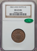 Two Cent Pieces: , 1864 2C Large Motto MS65 Brown NGC. CAC. NGC Census: (237/31). PCGSPopulation (47/2). Mintage: 19,847,500. Numismedia Wsl....
