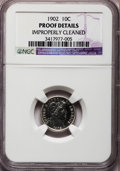 Proof Barber Dimes: , 1902 10C -- Improperly Cleaned -- NGC Details. Proof. NGC Census:(4/185). PCGS Population (5/212). Mintage: 777. Numismedi...
