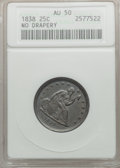 Seated Quarters: , 1838 25C No Drapery AU50 ANACS. NGC Census: (5/119). PCGSPopulation (14/107). Mintage: 466,000. Numismedia Wsl. Price for...