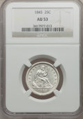 Seated Quarters: , 1845 25C AU53 NGC. NGC Census: (5/82). PCGS Population (10/61).Mintage: 922,000. Numismedia Wsl. Price for problem free NG...