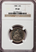 Proof Seated Quarters: , 1880 25C PR60 NGC. NGC Census: (5/271). PCGS Population (8/303).Mintage: 1,355. Numismedia Wsl. Price for problem free NGC...
