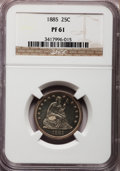 Proof Seated Quarters: , 1885 25C PR61 NGC. NGC Census: (7/201). PCGS Population (22/219).Mintage: 930. Numismedia Wsl. Price for problem free NGC/...