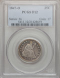 Seated Quarters: , 1847-O 25C Fine 12 PCGS. PCGS Population (6/56). NGC Census:(0/31). Mintage: 368,000. Numismedia Wsl. Price for problem fr...