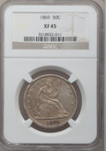 Seated Half Dollars: , 1869 50C XF45 NGC. NGC Census: (9/86). PCGS Population (22/113).Mintage: 795,300. Numismedia Wsl. Price for problem free N...