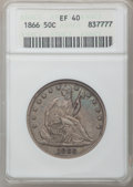 Seated Half Dollars: , 1866 50C Motto XF40 ANACS. NGC Census: (3/71). PCGS Population(8/81). Mintage: 744,900. Numismedia Wsl. Price for problem ...