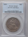 Seated Half Dollars: , 1853 50C Arrows and Rays XF45 PCGS. PCGS Population (156/659). NGCCensus: (108/749). Mintage: 3,532,708. Numismedia Wsl. P...