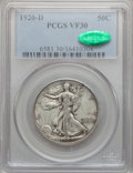 Walking Liberty Half Dollars, 1920-D 50C VF30 PCGS. CAC. PCGS Population (25/332). NGC Census:(11/212). Mintage: 1,551,000. Numismedia Wsl. Price for pr...