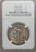 Walking Liberty Half Dollars: , 1921-S 50C -- Scratches -- NGC Details. VF. NGC Census: (65/277).PCGS Population (91/368). Mintage: 548,000. Numismedia Ws...