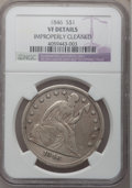 Seated Dollars: , 1846 $1 -- Improperly Cleaned -- NGC Details. VF. NGC Census:(4/384). PCGS Population (7/510). Mintage: 110,600. Numismedi...