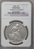 Seated Dollars: , 1846 $1 -- Harshly Cleaned -- NGC Details. XF. NGC Census:(21/346). PCGS Population (67/388). Mintage: 110,600. Numismedia...