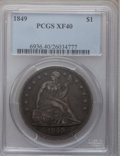 Seated Dollars: , 1849 $1 XF40 PCGS. PCGS Population (34/267). NGC Census: (6/234).Mintage: 62,600. Numismedia Wsl. Price for problem free N...