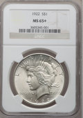 Peace Dollars: , 1922 $1 MS65+ NGC. NGC Census: (14285/1390). PCGS Population(5645/607). Mintage: 51,737,000. Numismedia Wsl. Price for pro...