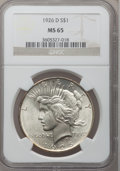 Peace Dollars: , 1926-D $1 MS65 NGC. NGC Census: (487/104). PCGS Population(649/181). Mintage: 2,348,700. Numismedia Wsl. Price for problem...