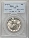 Commemorative Silver: , 1926 50C Oregon MS64 PCGS. PCGS Population (1153/1298). NGC Census:(686/1037). Mintage: 47,955. Numismedia Wsl. Price for ...