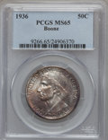 Commemorative Silver: , 1936 50C Boone MS65 PCGS. PCGS Population (730/378). NGC Census:(568/300). Mintage: 12,012. Numismedia Wsl. Price for prob...