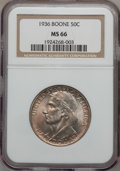 Commemorative Silver: , 1936 50C Boone MS66 NGC. NGC Census: (245/55). PCGS Population(311/67). Mintage: 12,012. Numismedia Wsl. Price for problem...