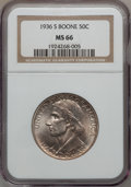 Commemorative Silver: , 1936-S 50C Boone MS66 NGC. NGC Census: (236/33). PCGS Population(224/55). Mintage: 5,006. Numismedia Wsl. Price for proble...