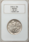 Commemorative Silver: , 1939-S 50C Oregon MS65 NGC. NGC Census: (238/400). PCGS Population(378/350). Mintage: 3,005. Numismedia Wsl. Price for pro...