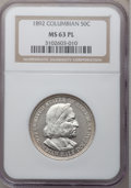 Commemorative Silver: , 1892 50C Columbian MS63 Prooflike NGC. NGC Census: (94/214). Mintage: 950,000. (#89296)...