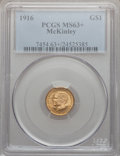 Commemorative Gold: , 1916 G$1 McKinley MS63+ PCGS. PCGS Population (774/2967). NGCCensus: (362/1629). Mintage: 9,977. Numismedia Wsl. Price for...