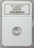 Modern Bullion Coins, 2001 P$10 Tenth-Ounce Platinum Eagle MS70 NGC. NGC Census: (1078). PCGS Population (13). Mintage: 52,017. Numismedia Wsl. P...