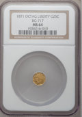 California Fractional Gold: , 1871 25C Liberty Octagonal 25 Cents, BG-717, R.3, MS64 NGC. NGCCensus: (8/16). PCGS Population (62/73). (#10544)...