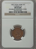 Civil War Merchants, 1863 Charles Gentsch, Cafe, New York, NY, MS65 Brown NGC.Fuld-NY630AC-1a....