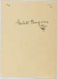 Autographs:Authors, Frank Gelett Burgess (1866-1951, American Artist and Writer).Signed Leaf. Very good....