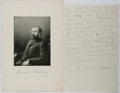 Autographs:Authors, Edward Bellamy (1850-1898, American Writer). Autograph LetterSigned. Frontispiece photo included. Very good....