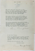 Autographs:Authors, Anne Campbell (Poet of the Detroit News). Group of Two Typed Letters Signed. Affixed to each other. Very good....
