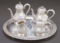A HOACHING CHINESE EXPORT SILVER TEA AND COFFEE SERVICE Hoaching, Canton, China, circa 1875 Marks: (characters