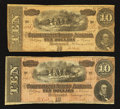 Confederate Notes:1864 Issues, T68 $10 1864 Two Examples.. ... (Total: 2 notes)